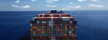 Aerial Drone Ultra Wide Photo Above Huge Colourful Container Carrier Vessel Cruising Deep Blue Open Ocean Sea