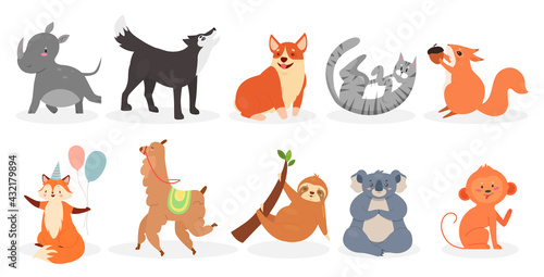 Naklejka premium Cute animals vector illustration set. Cartoon domestic pets and zoo or wild animals characters collection, squirrel holding walnut, sloth on tree branch, koala monkey wolf dog cat isolated on white