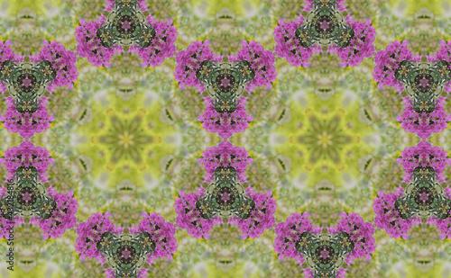 Foto Geometric Patterns Kaleidoscope Purple bougainvillea flowers
