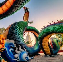 Rainbow Carve Serpent Or Colorful Thai Naga Surrounding Sri Maha Pho Chedi Stupa In The Sunset At Wat Phra That Nong Bua