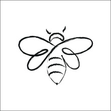 Bee Icon Drawn With A Black Brush Isolated On White. Watch Out For Bee Hives. Apiary For The Production Of Honey. Printing On Decorative Pillows. Vector Graphics.