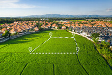 Land Plot In Aerial View. Identify Registration Symbol Of Vacant Area For Map. That Property, Real Estate For Business Of Home, House Or Residential I.e. Construction, Development, Sale, Rent, Buy.