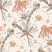 Seamless Minimalist Doodle Floral Pattern Background. Calm Boho Earthy Tone Color Wallpaper. Simple Modern Scandi Unisex Flower Design. Organic Childish Gender Neutral Baby All Over Print. Hand Drawn.