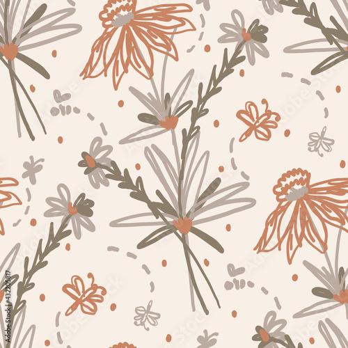 Tapety Boho   bezszwowe-minimalistyczne-doodle-kwiatowy-wzor-tla-spokojna-tapeta-w-kolorze-ziemisty-boho-prosty-nowoczesny-wzor-kwiatowy-scandi-unisex-organiczny-dzieciecy-neutralny-plciowo-nadruk-na-calej-powierzchni-recznie-rysowane