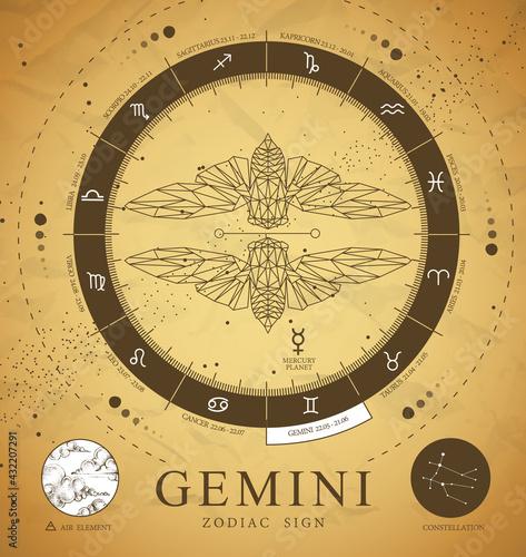 Vintage magic witchcraft card with astrology Gemini zodiac sign. Polygonal butterfly or cicada illustration. Zodiac characteristic - fototapety na wymiar