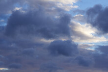 Background Of Blue Cumulus Clouds At Twilight