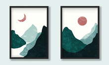 Green Mountain Asian Landscapes With Sun And Moon In Cold Colors With Texture. Modern Trendy Vector Artwork Flat Design In Scandinavian Style On Mockup. For Wall Print, Poster And Art Product.
