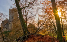 Castle Roetteln A Thousand Year Old Ruin Near The City Of Loerrach, Viewed Through Autumn Trees, In The Black Forest, Germany