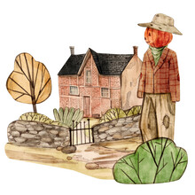 Watercolor Illustration Of The Old House And The Scarecrow. Happy Halloween Banner