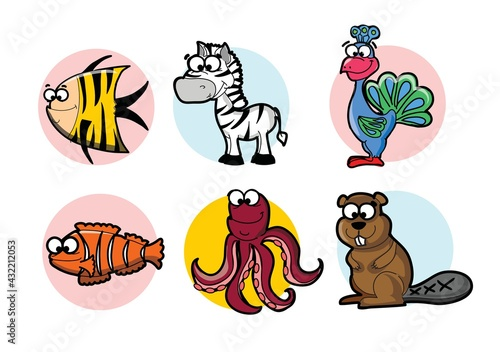 Naklejka premium Collection of hipster cartoon character animals fish, zebra, turkey