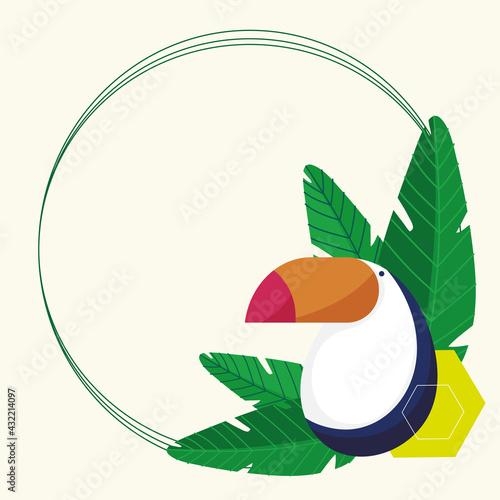 Fototapeta premium toucan round frame