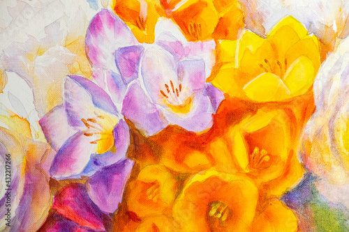 Blooming spring Bouquet of flowers painted on canvas - fototapety na wymiar