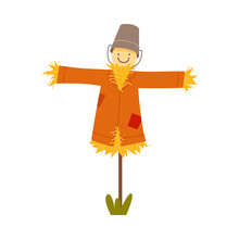 Straw Scarecrow Wearing Patched Coat And Bucket Vector Illustration
