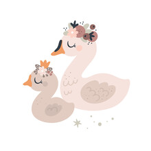 Cute Swans Birds. Mom And Baby Animal Family. Baby Animals Clipart. Cartoon Vector Illustration For Kids. Ideal For Cards, Poster, Prints, Anniversary, Nursery Clothing