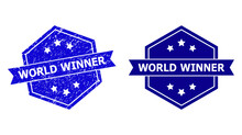 Hexagon WORLD WINNER Stamp Seal On A White Background, With Original Variant. Flat Vector Blue Textured Seal With WORLD WINNER Caption Inside Hexagon Shape, Ribbon Used Also.