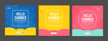 Colorful Summer Banner Set With Tropical Leaves.
