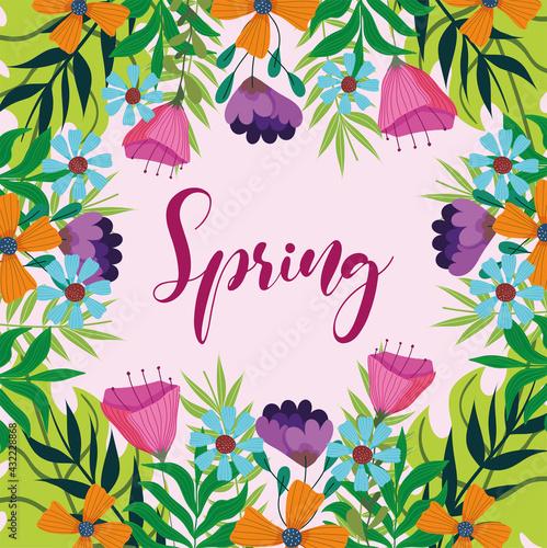 spring handwritten flowers - fototapety na wymiar