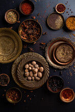 Spices In Brass Bowls