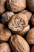 Closeup Of Whole Nutmeg