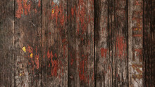 Brown Wood Texture With Cracked Paint Residues.Abstract Background,blank Template.rustic Weathered Wood Barn Background With Knots And Nail Holes.Cover The Walls With Wooden Planks.Copy Space.
