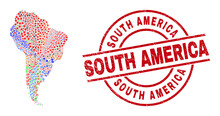 South America Map Collage And South America Red Round Stamp Seal. South America Seal Uses Vector Lines And Arcs. South America Map Collage Includes Markers, Houses, Showers, Bugs, Wine Glasses,