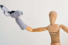 Artist's Mannikin Or Manikin Posing With Mule Or Donkey Finger Puppet - Arm Stretched Out