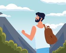 Man Tourist Looking Landscape