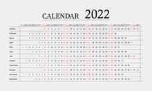 Calendar 2022 Year. Week Starts On Sunday. Vector Illustration