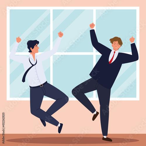 Obraz na plátně business team celebrating triumph