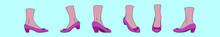 Set Of Ruby Slippers Cartoon Icon Design Template With Various Models. Vector Illustration Isolated On Blue Background
