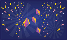 Small Celebration Particles On Abstract Blue Background