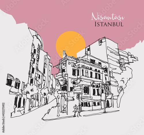 Fototapeta Drawing sketch illustration of Nisantasi, Istanbul obraz