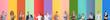 Set of teachers on color background