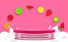 Pink Podium On Spring With Mix Fruit Background