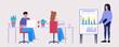 Illustration of staff education, office workshop, meeting