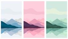 Landscape Poster. Mountain Art. Mountain, River View. Hills, Clouds, Sun, Moon. Japanese Style. Modern Minimalist Print. Nature Art Background. Natural Wallpaper.
