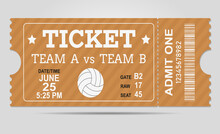 Volleyball Ticket Card Modern Element Design. Vector Abstract Logo For Water Polo Ball Ticket