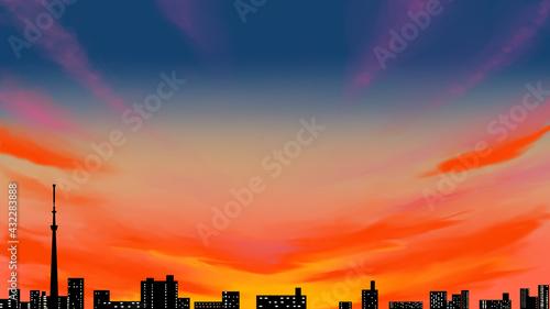 Fotografia スカイツリーの見える夕暮れの街並み