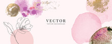 Minimal Water Color Background In Pink With Golden Metallic Texture
