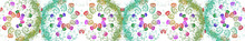 Seamless Border Pattern Of Colorful Spirals, Blurry Spots On A White Background. Abstract Fractal Background. 3d Rendering, 3d Illustration.