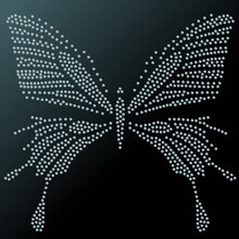 Glamour Vector Vintage Silver Butterfly With Elegance Ornament Encrusted With Blue Jewels On Dark Background.