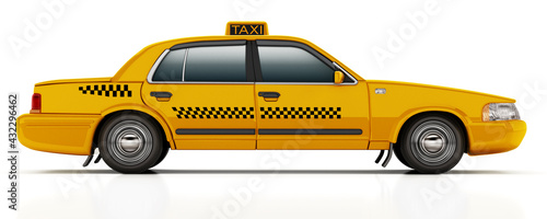 Fotografia Yellow taxi cab isolated on white background. 3D illustration