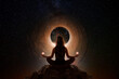 Woman with yoga pose in front of the universe