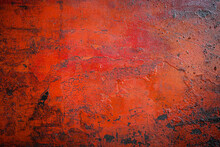 Red Matal Sheet With Rust And Oily In The Garage Can Be Use As Background