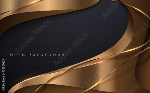 Foto Abstract gold and black background