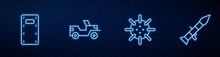 Set Line Naval Mine, Military Assault Shield, Jeep And Rocket Launcher. Glowing Neon Icon On Brick Wall. Vector