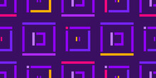 Abstract Vector Geometric Pattern Of Squares And Rectangles. Lilac. Pink. Yellow. Seamless Pattern On The Fabric.