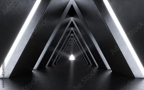Illuminated corridor interior design. 3D rendering Tapéta, Fotótapéta