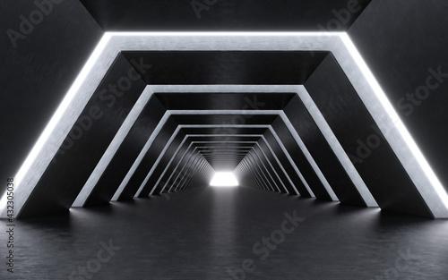 Vászonkép Illuminated corridor interior design. 3D rendering