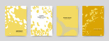 Set Of Abstract Creative Universal Cover Templates. Trendy Yellow Texture With Spots On The Background. Vector Collection For Catalog, Notebooks, Brochures, Books, Social Media Posts, Banners.
